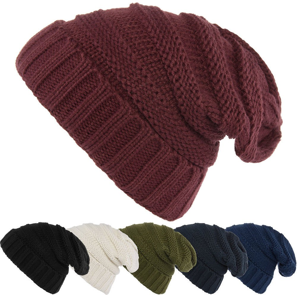 Women's Slouchy Ribbed Knit Chunky Beanie Winter Hat Warm Cute Lightweight Chic