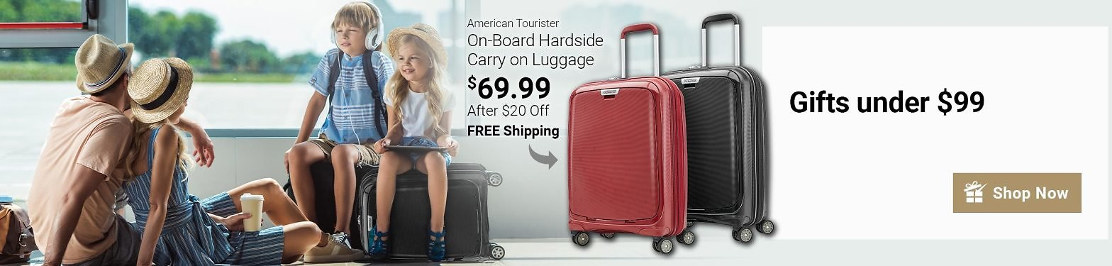 American Tourister On-Board Hardside Carry-On Luggage (Red, Black)