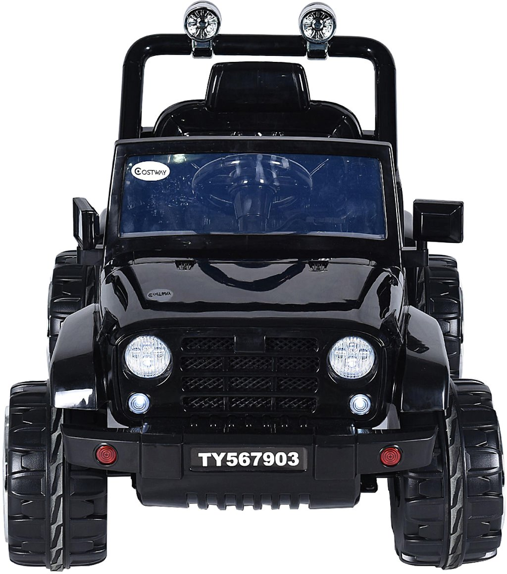 Goplus 12V Kids' Ride-On Jeep Car with RC and LED Lights - Black