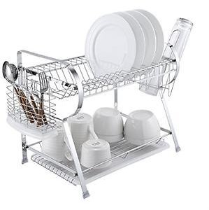 Naturous 2 Tier Dish Drying Rack Kitchen Organizer with Drain Board, Chrome Finished Steel, Naturous