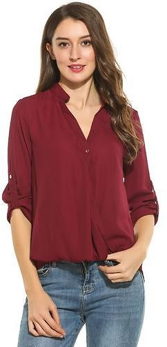HappyDeal Women's Shirt Top Blouse Casual Long Sleeve Solid Pleated Button Down Shirt