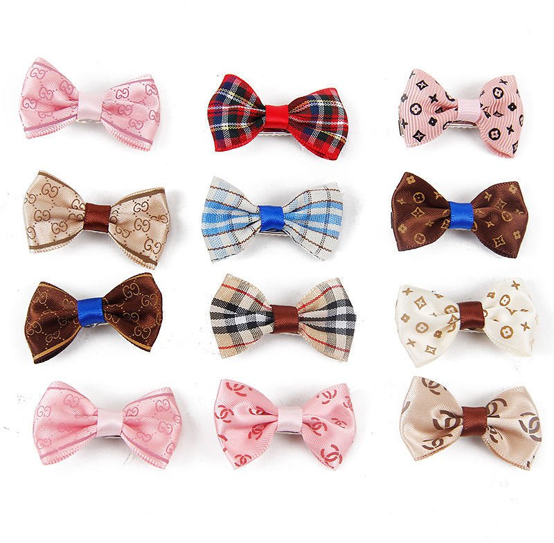 Pet Dog Hair Bows Tie 12PCS Dog Hair Clip Hairpin Color Dog Grooming Accessories 600706712452