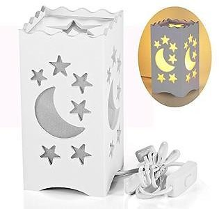 Pandawill Table Light White Art Light with Moon and Star Shaped Carving, Desk Lamp Night Light for Bedroom, Dorm, Living Room