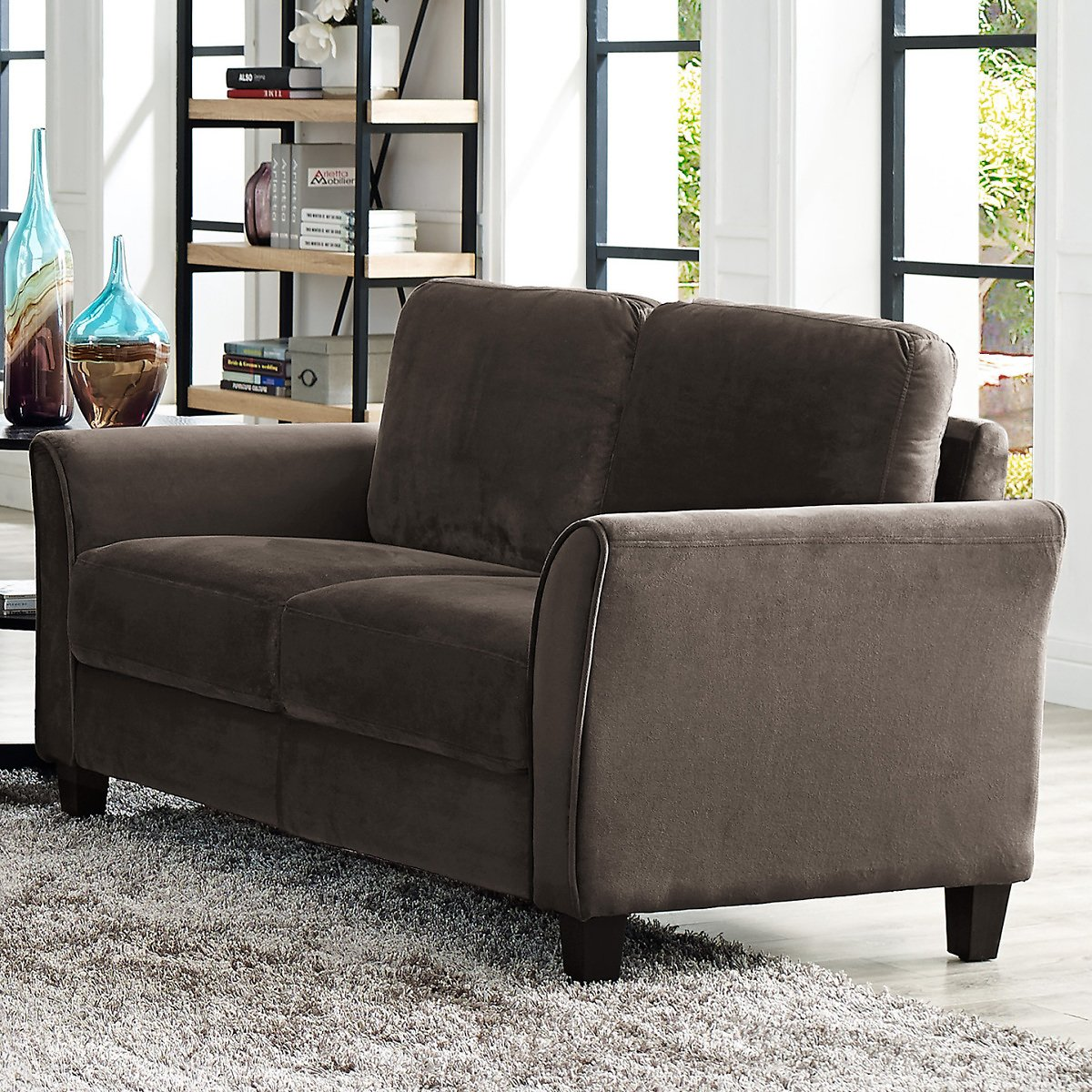 LifeStyle Solutions Alexa Rolled-Arm Loveseat (2 Colors) + Free Shipping