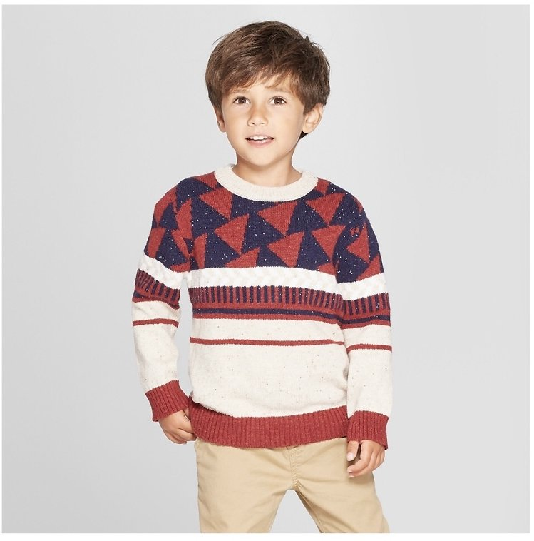 Toddler Boys' Crew Neck Geometric Pullover Sweater - Cat & Jack™ Oatmeal/Dark Red