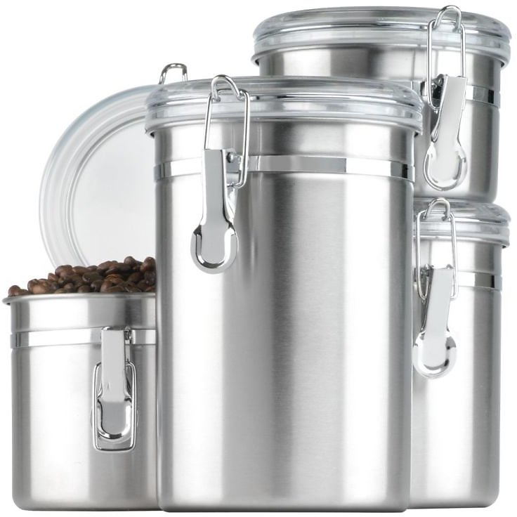 4-Piece Anchor Hocking Stainless Steel Canister Set