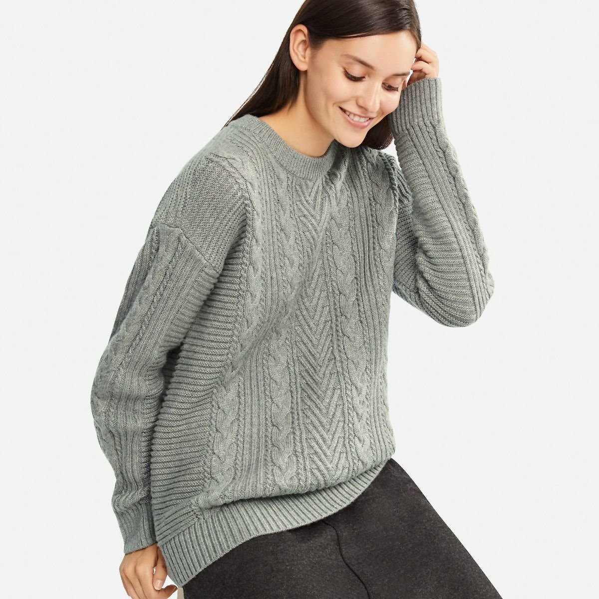 WOMEN CABLE LONG SWEATER (4 Colors)