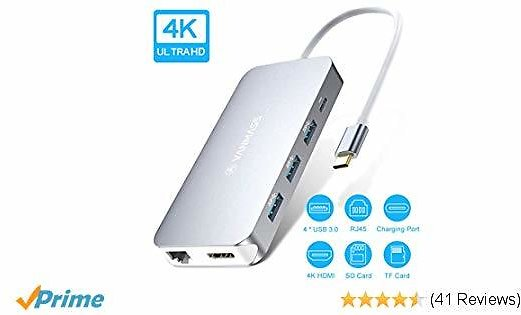 USB C Hub, VANMASS 9 in 1 Premium USB C Adapter, Thunderbolt 3 Dock, Type C to 4K HDMI, Gigabit Ethernet Port, 87W Power Delivery, 4 USB 3.0 Ports, TF&SD Card Reader Compatible with USB C Devices