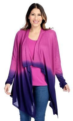 OSO Casuals® Knit Dip-Dye Open Front Cardigan & Tank Top Set On Sale At Evine.com