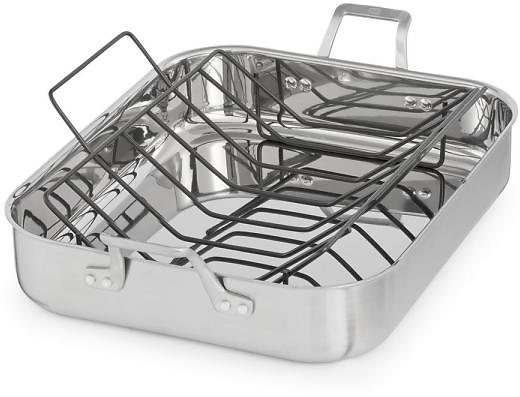 (Ships Free) Calphalon Signature 7 Qt. 16 In. Stainless Steel Roaster with Rack