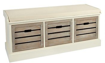 Alden Ivory 3-Shutter Washed Wood Bench - Christmas Tree Shops and That!