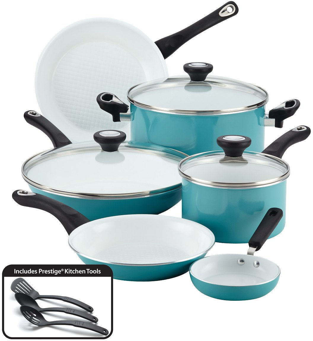 Farberware 12-Piece PURECOOK™ Ceramic Nonstick Cookware Set - Aqua