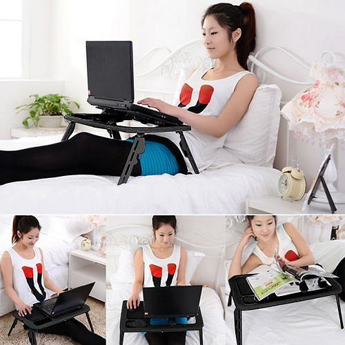 Bestselling New Folding Table Portable Folding Adjustable Bed Laptop Table with 2 Cooling Fans + Mouse Pad Black