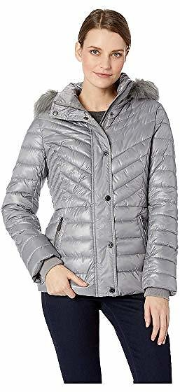 Kenneth Cole New York Faux Fur Trimmed Short Puffer