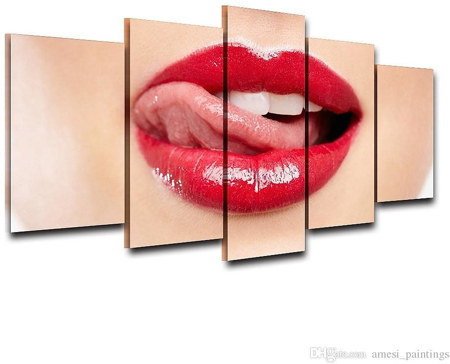 2019 Unframed Canvas Wall Art Oil Painting For Living Room HD Printed 5 Panel Pictures Red Lips Poster Modern Home Decor Gifts From Amesi_paintings, $19.0 | DHgate.Com