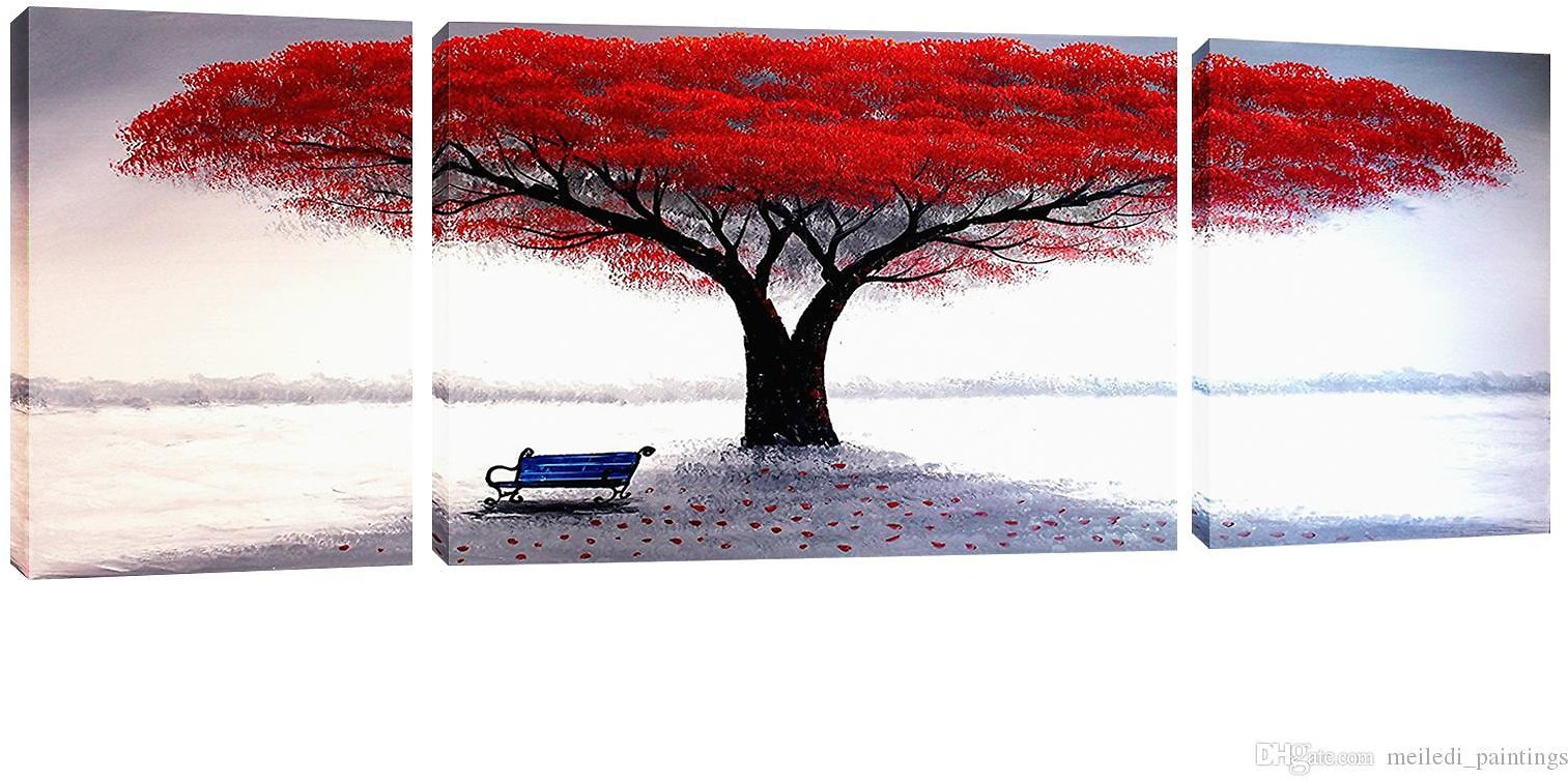 2019 Unframed River Bank Red Tree Landscape Picture Modern Art Decorative Artwork Canvas Wall Paintingfor Home Living Room Decor From Meiledi_paintings, $18.3 | DHgate.Com
