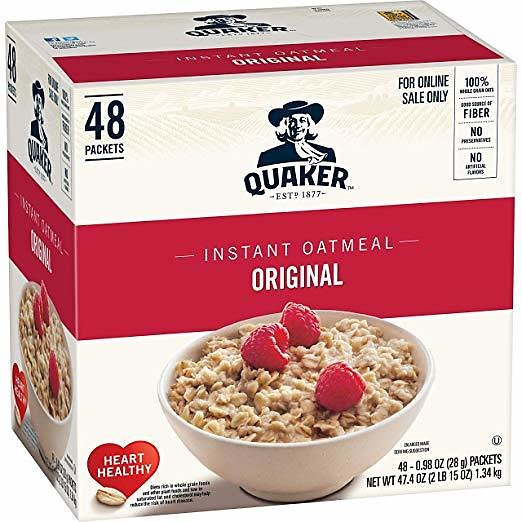Quaker Instant Oatmeal, Original, Individual Packets, 48 Count