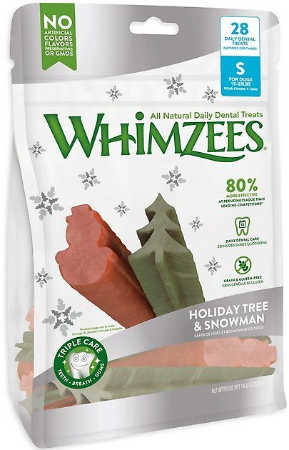 WHIMZEES Holiday Tree & Snowman Variety Pack Dental Dog Treats, Small, 28 Count - Chewy.com