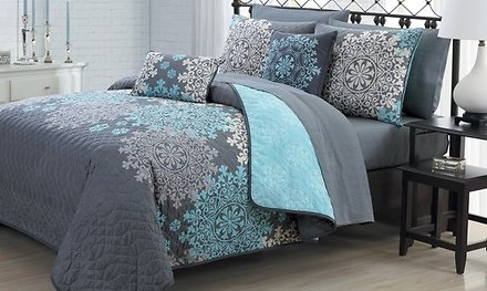 Reversible Printed Quilt with Sheet Set and Throw Pillows (7- or 9-Piece)