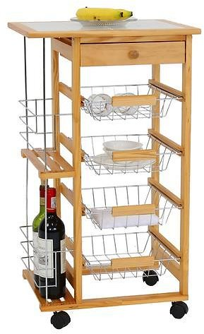 Kinbor Wooden Kitchen Island Work Station Trolley Utility Cart W/Drawers and Casters