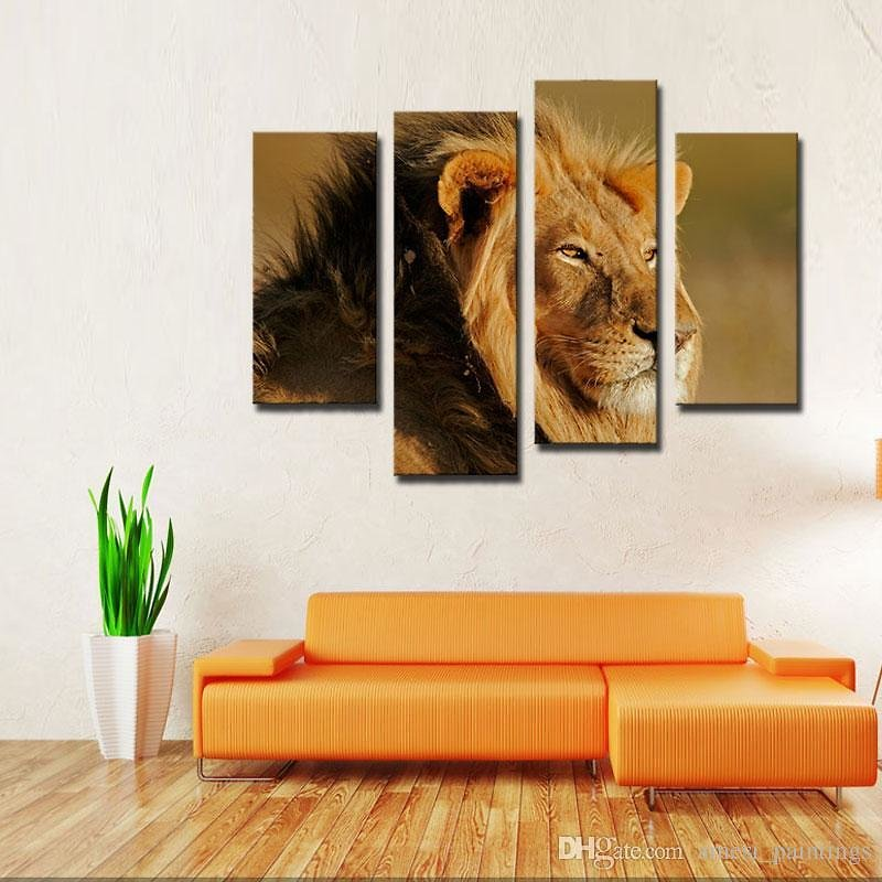 2019 4 Picture Combination Big Male Lion Sit At Dry Grassland Wall Art Painting On Canvas Animal Pictures For Home Decora Gift From Amesi_paintings, $36.98 | DHgate.Com