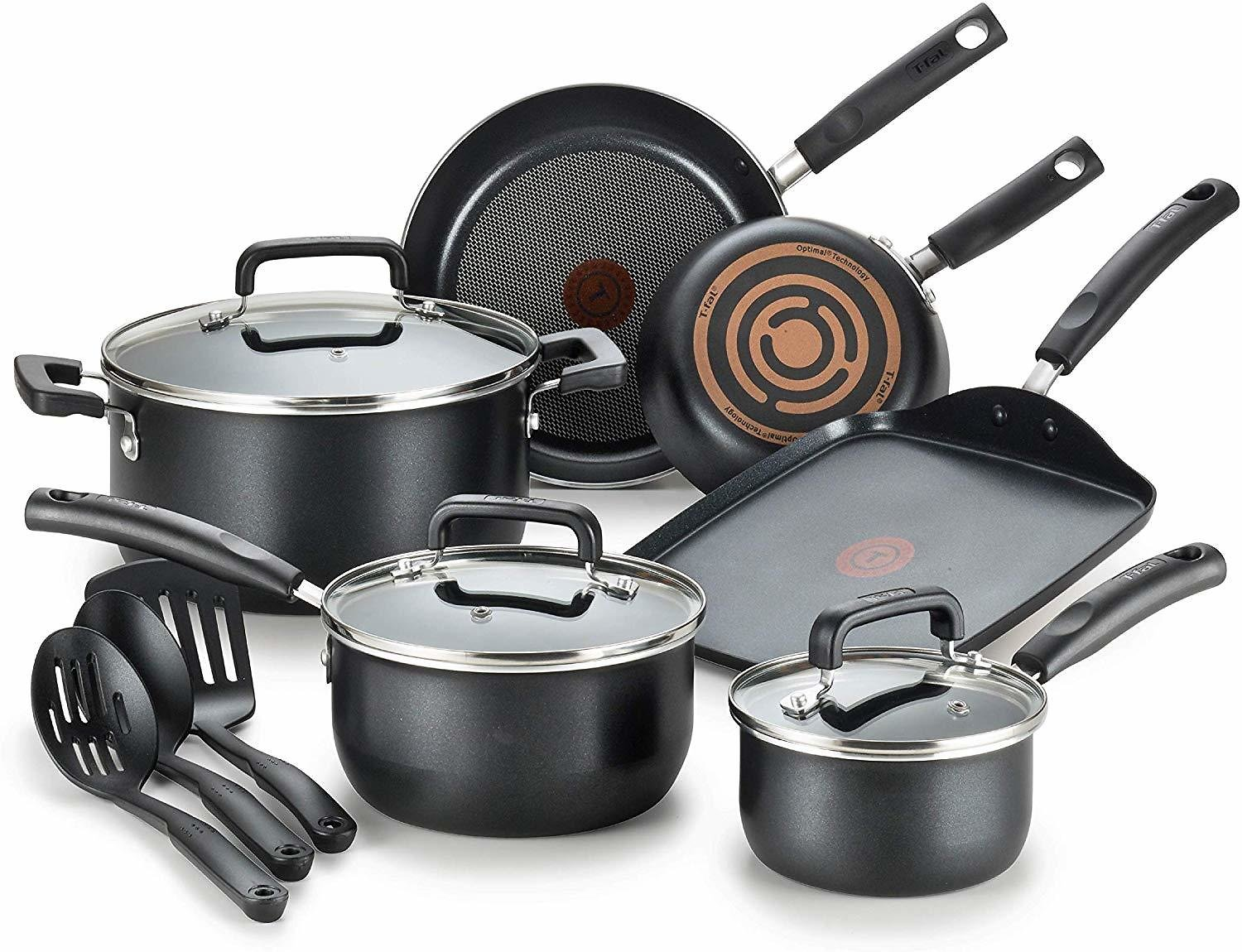 Save 19%   Signature Nonstick Dishwasher Safe Cookware Set, Nonstick Pots and Pans Set, Thermo-Spot Heat Indicator, 12 Piece, Bl