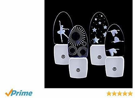 Plug in LED Night Light with Charming Dynamic Patterns, 4 Pack Night Lamp with Smart Dusk to Dawn Sensor for Bedroom, Hallway, Nursery, Cool White