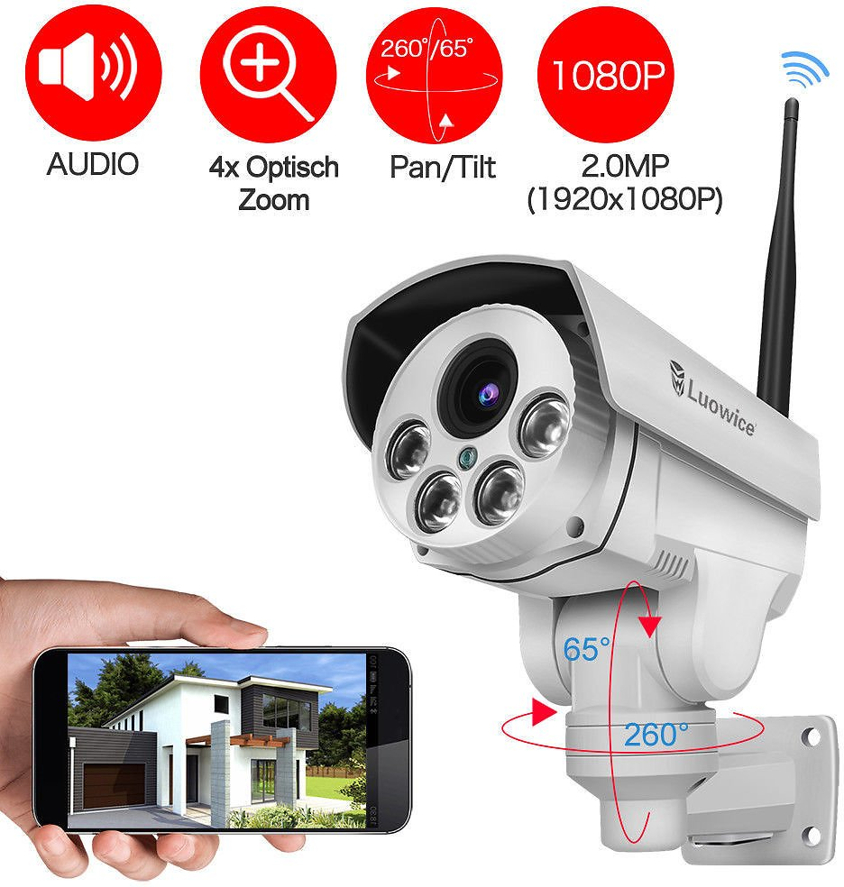 Luowice 1080P Security Camera Indoor/Outdoor with PTZ 4X Zoom Audio Night Vision 750440854885