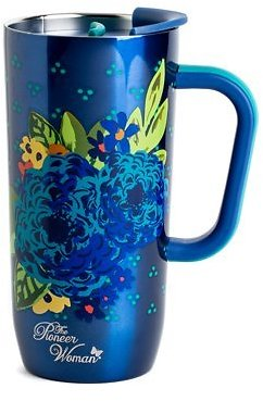 The Pioneer Woman 20 Oz Frontier Stainless Steel Double Wall Vacuum Insulated Travel Mug with Handle and Lid - Blue