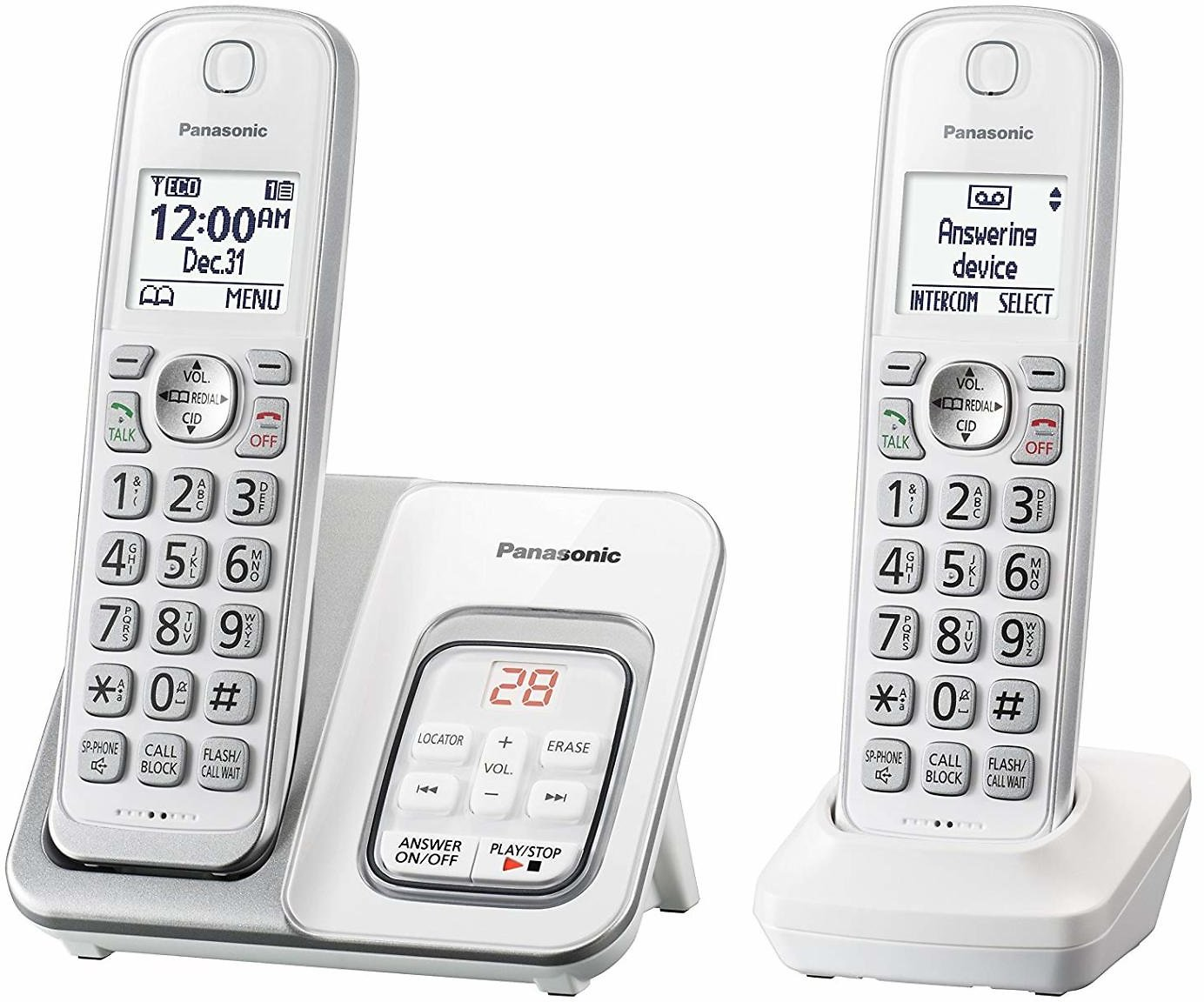 Panasonic DECT 6.0 Expandable Cordless Phone with Answering Machine - 2 Cordless Handsets