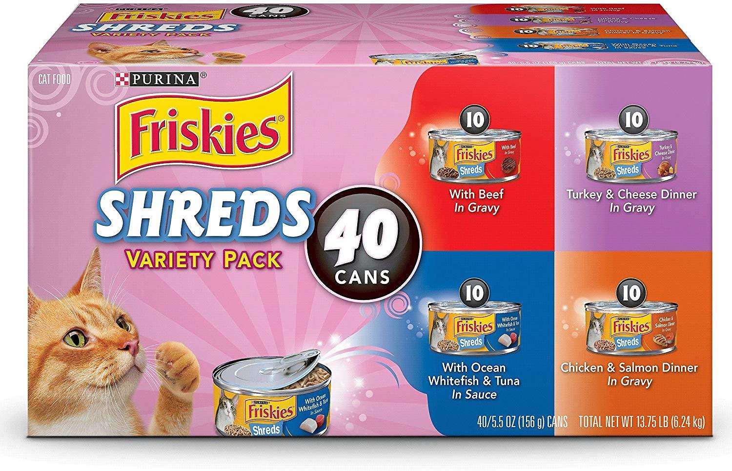 Purina Friskies Shreds In Gravy Adult Wet Cat Food Variety Pack - (40) 5.5 Oz. Cans