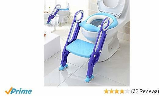 Luchild Potty Trainer Seat Adjustable Baby Potty Toilet Ladder Seat with Step Stool Ladder for Todderls Baby - Blue