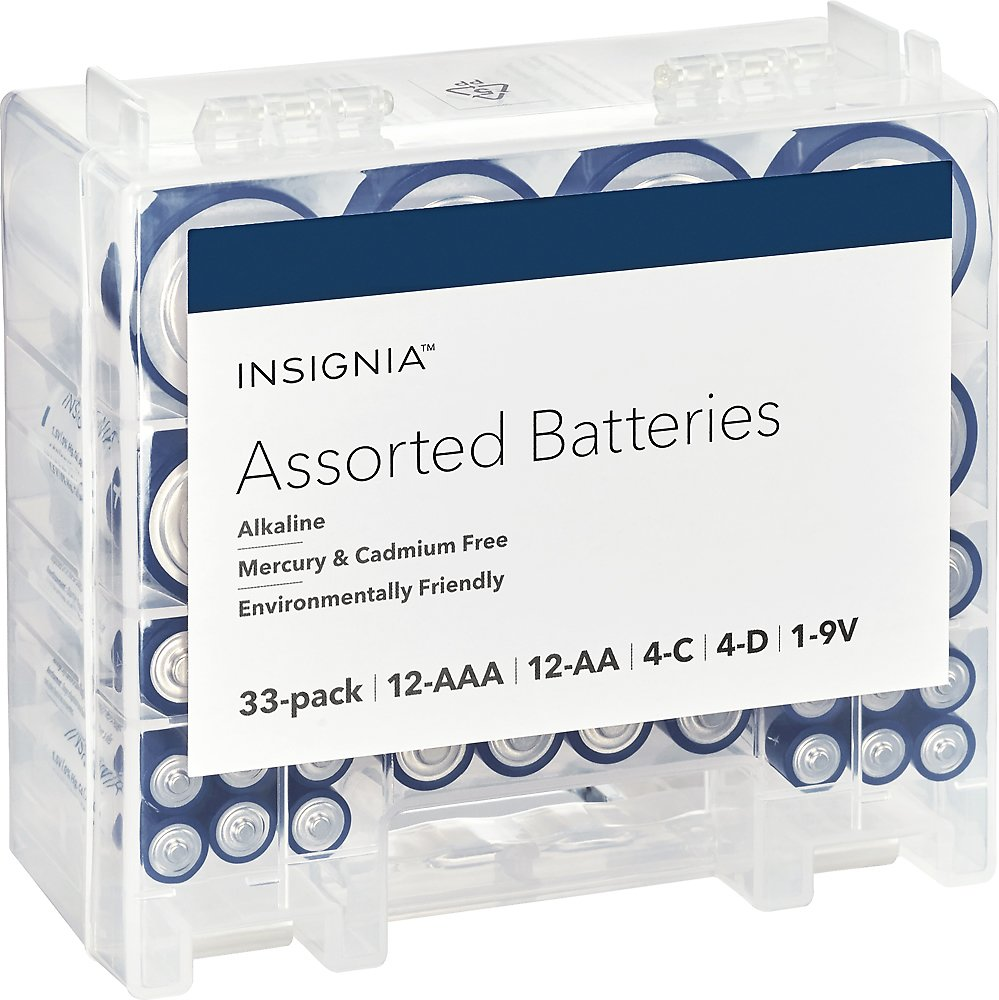 (33-Pack) Insignia™ Assorted Batteries with Storage Box