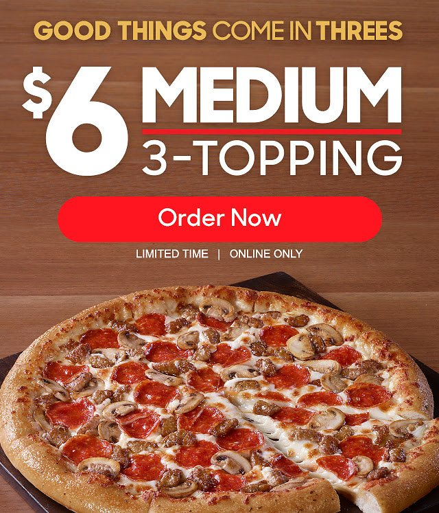 Online Only! $6 Medium 3-Topping Pizza - Pizza Hut!