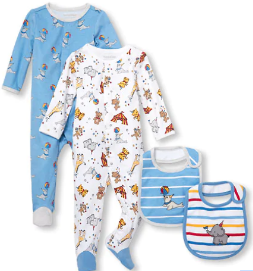 (Ships Free) Baby Boys Circus Party Sleep-And-Play And Bib 4-Piece Set