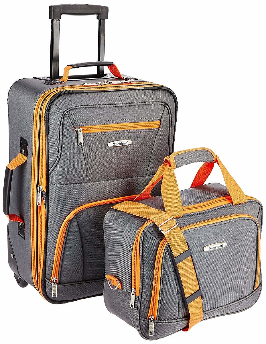 Rockland Luggage 2-Piece Set (Charcoal) + Ships Free