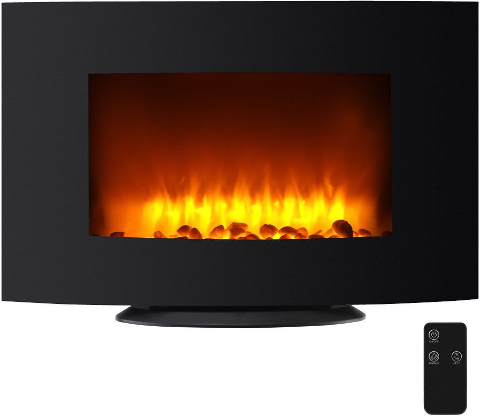Wall Mount Electric Fireplace Heater Adjustable W/ Control Remote 1500W Black