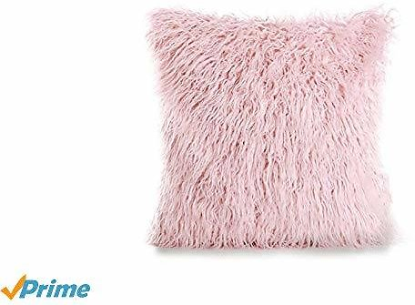 MOCOFO Faux Fur Throw Pillow Cover Home Decorative Super Soft Plush Mongolian Cushion Case with Super Luxury Soft Solid Velvet Throw Pillow Cover 18x18Inches (Warm Pink)