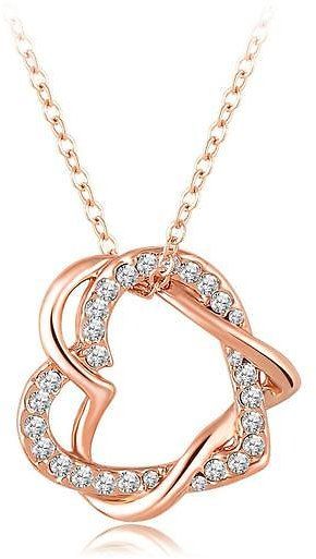 18K Rose Gold Plated Autralian Swiss Crystal Heart in Heart Necklace Pendant with 16 to 18