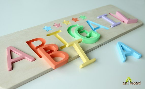 Personalized Wooden Name Puzzle. Easter Gift for Kids. Perfect Gift for Baby Baptism or Christening.