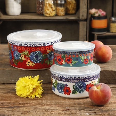 The Pioneer Woman Dazzling Dahlias 6-Piece Ceramic Bowl Set with Lids