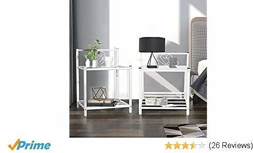 GreenForest Bedside Table Set of 2 Nightstand 2 Tier Retro End Table,Glass Top with Metal Storage Shelf for Bedroom Living Room (White)