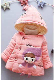 Unomatch Toddlers Cartoon Pattern Long Sleeved Winter Coat