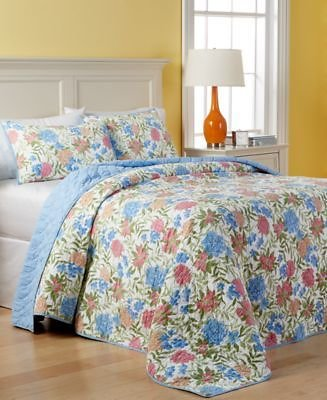 Martha Stewart Collection CLOSEOUT! Cotton Gramercy Garden Reversible Quilted Queen Bedspread, Created for Macy's Bed & Bath - Quilts & Bedspreads