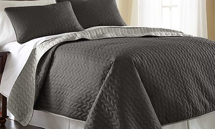 3-Piece Embossed or Quilted Reversible Coverlet Set (More Colors)