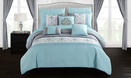 20-Piece Barrett Color-Block Pattern Floral Printed Embroidered Comforter Set with Panels and Sheets