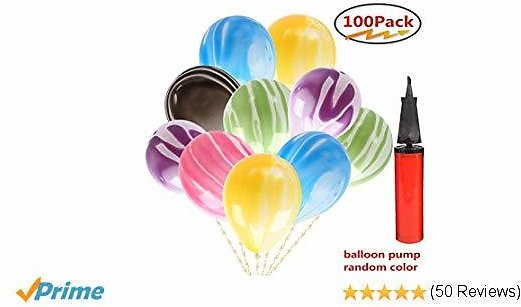 Balloons 100 PCS Assorted Agate Latex Balloons10 Inches and Balloon Pump for Wedding Graduation Birthday Party Home Decoration Supplies