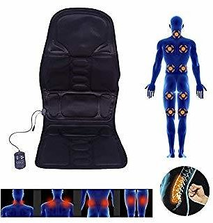 Cocoarm Massage Cushion, 5 Vibrating Motors Massage Back Neck Lumbar Full Body Massaging Chair Heated Electric Mat Pad Massager for Home Car Office Use(Black)