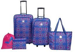 Modern. Southern. Home.™ Medallion Delta Blue and Pink Luggage Set 5-Piece