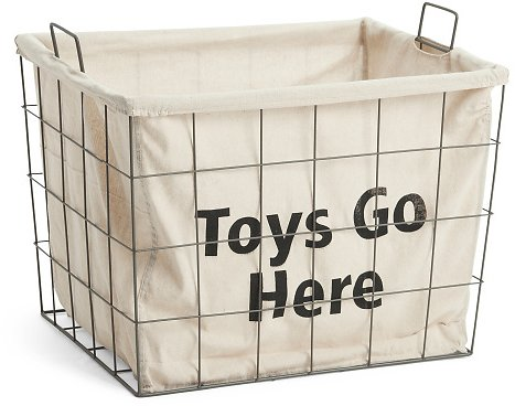 Metal Lined Toys Go Here Storage Basket